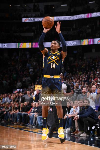 Gary Harris of the Denver Nuggets shoots the ball against the Oklahoma City Thunder on February 1 2018 at the Pepsi Center in Denver Colorado NOTE TO...