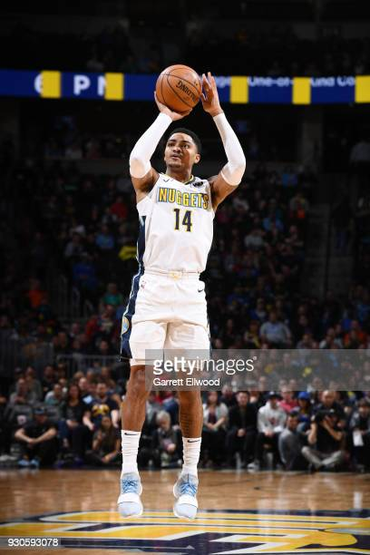 Gary Harris of the Denver Nuggets shoots the ball against the Sacramento Kings on March 11 2018 at the Pepsi Center in Denver Colorado NOTE TO USER...