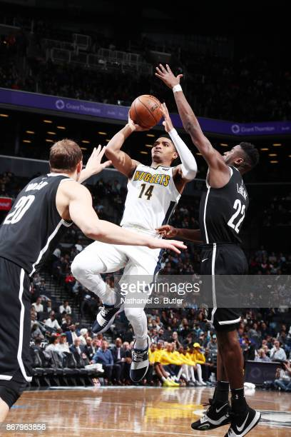 Gary Harris of the Denver Nuggets shoots the ball against the Brooklyn Nets on October 29 2017 at Barclays Center in Brooklyn New York NOTE TO USER...