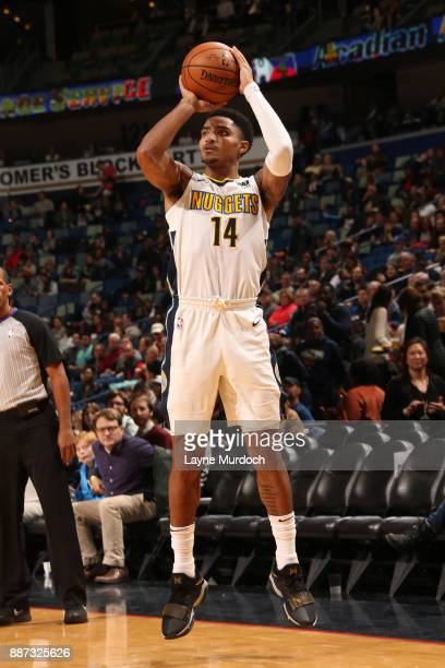 Gary Harris of the Denver Nuggets shoots the ball against the New Orleans Pelicans on December 6 2017 at Smoothie King Center in New Orleans...
