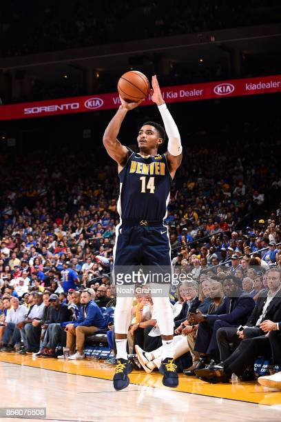Gary Harris of the Denver Nuggets shoots the ball during the game against the Golden State Warriors during a preseason game on September 30 2017 at...