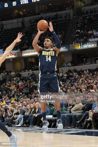 Gary Harris of the Denver Nuggets shoots the ball during the game against the Indiana Pacers on December 10 2017 at Bankers Life Fieldhouse in...