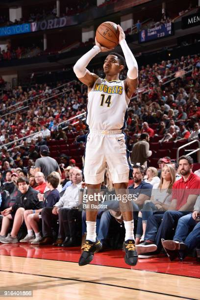Gary Harris of the Denver Nuggets shoots the ball during the game against the Houston Rockets on February 9 2018 at the Toyota Center in Houston...