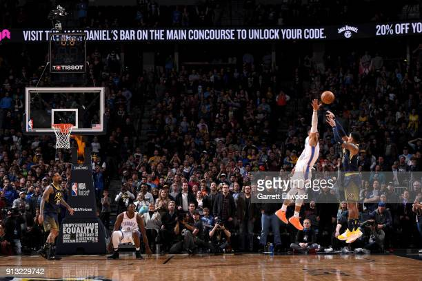 Gary Harris of the Denver Nuggets shoots the ball to win the game against the Oklahoma City Thunder on February 1 2018 at the Pepsi Center in Denver...