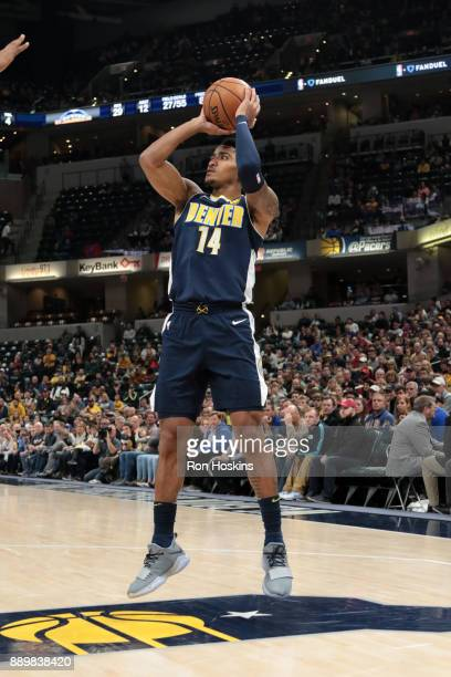 Gary Harris of the Denver Nuggets shootsthe ball during the game against the Indiana Pacers on December 10 2017 at Bankers Life Fieldhouse in...