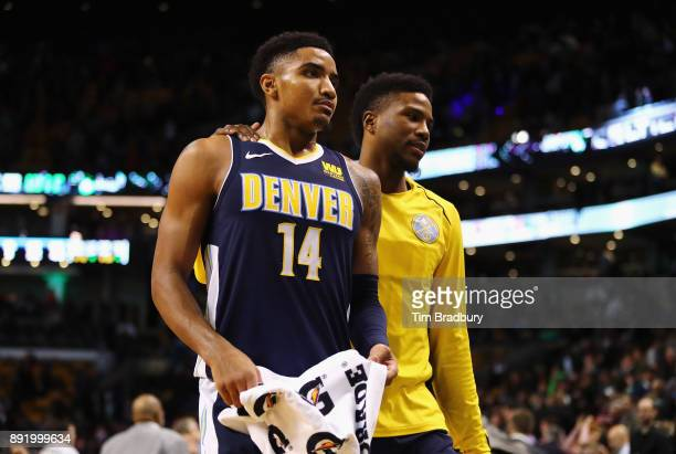 Gary Harris of the Denver Nuggets walks off the court after being defeated by the Boston Celtics 118124 at TD Garden on December 13 2017 in Boston...
