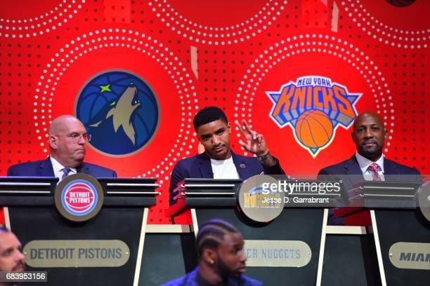 Gary Harris of the Denver Nuggets waves to the crowd during the 2017 NBA Draft Lottery at the New York Hilton in New York New York NOTE TO USER User...