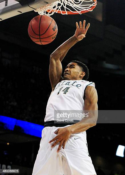 Gary Harris of the Michigan State Spartans dunks against the Harvard Crimson in the first half during the Third Round of the 2014 NCAA Basketball...