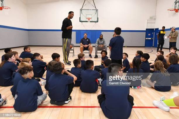 Gary Harris, Will Barton and Community Ambassadors Ervin Johnson and Mark Randall of the Denver Nuggets host a Jr Nuggets clinic on November 23, 2019...