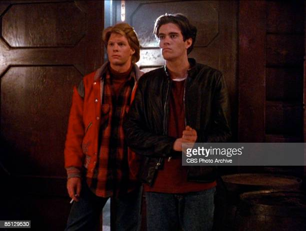 Gary Hershberger as Mike Nelson and Dana Ashbrook as Bobby Briggs together in a scene from the pilot episode of the hit television series 'Twin...