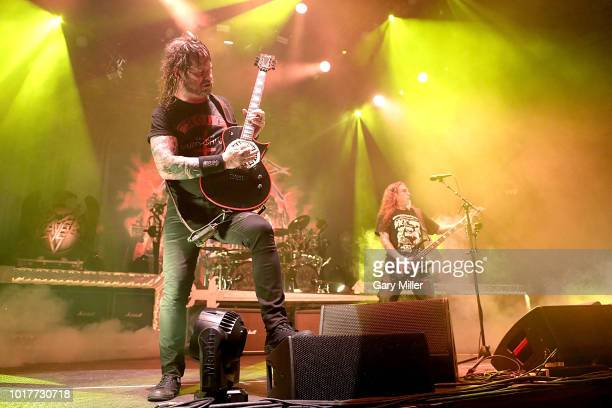 Gary Holt and Tom Araya perform in concert with Slayer at Freeman Coliseum on August 15 2018 in San Antonio Texas