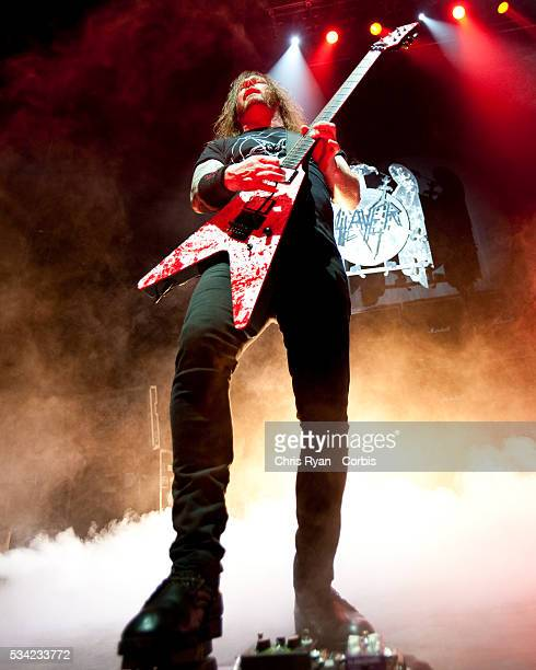 Gary Holt of Exodus performs live on stage with Slayer at Memorial Coliseum in Portland Ore