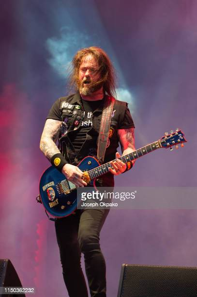Gary Holt of Slayer performs on stage during day 3 of Download festival 2019 at Donington Park on June 14 2019 in Castle Donington England