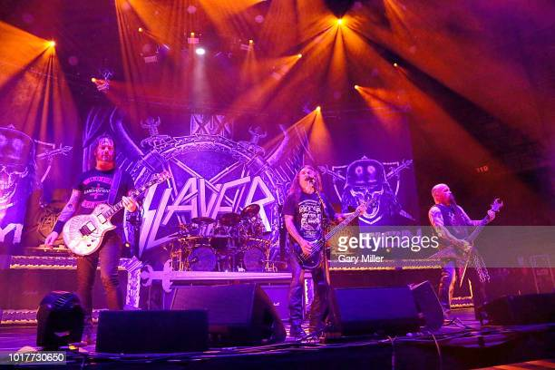 Gary Holt Tom Araya and Kerry King perform in concert with Slayer at Freeman Coliseum on August 15 2018 in San Antonio Texas