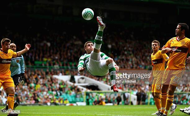 Gary Hooper of Celtic attempts an over head kick during the Clydesdale Bank Premier League match between Celtic and Motherwell at Celtic Park on...