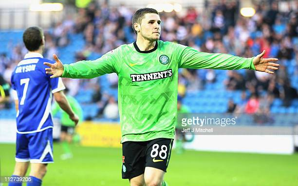 Gary Hooper of Celtic celebrates after scoring during the Clydesdale Bank Premier League match between Kilmarnock and Celtic at Rugby Park on April...