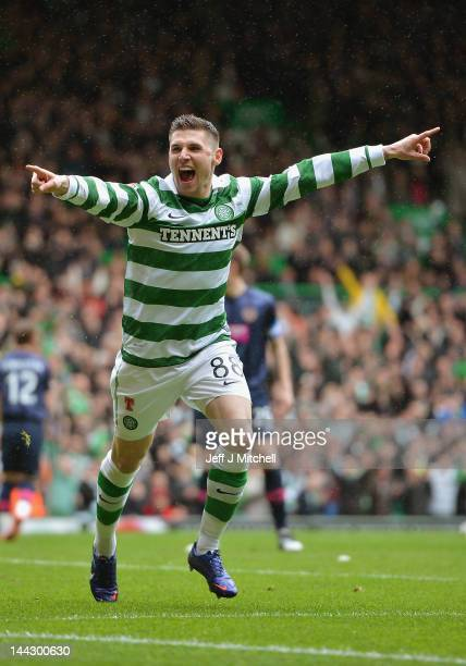 Gary Hooper of Celtic celebrates after scoring during the Clydesdale Bank Premier League match between Celtic and Hearts at Celtic Park on May 13...