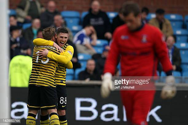 Gary Hooper of Celtic celebrates after scoring during the Scottish Clydesdale Bank Scottish Premier League match between Kilmarnock and Celtic at...