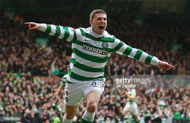 Gary Hooper of Celtic celebrates after scoring his first goal during the Clydesdale Bank Premier League match between Celtic and Rangers at Celtic...