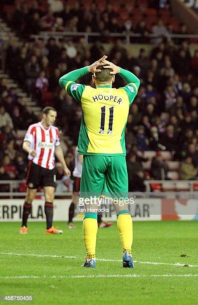 Gary Hooper of Norwich City reacts after heading wide during the Barclays Premier League match between Sunderland and Norwich City at The Stadium of...