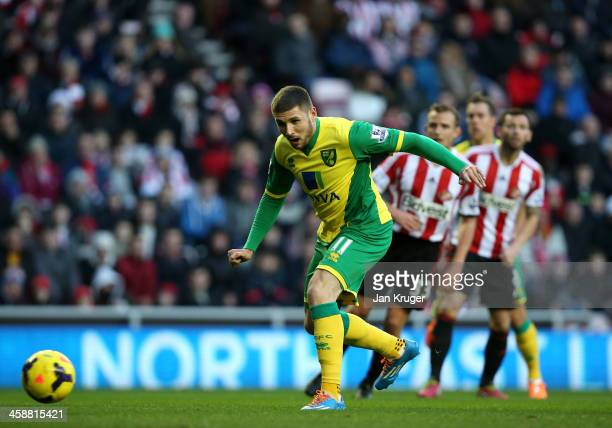 Gary Hooper of Norwich City takes a shot at goal during the Barclays Premier League match between Sunderland and Norwich City at the Stadium of Light...
