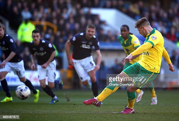 Gary Hooper of Norwich scores a penalty for the teams second goal of the game during the Sky Bet Championship match between Millwall and Norwich City...