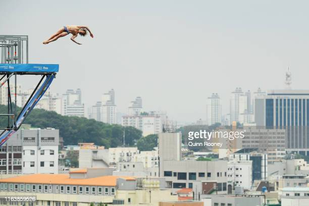 Gary Hunt of Great Britain competes in the Men's High Dive Final on day three of the Gwangju 2019 FINA World Championships at Chosun University on...