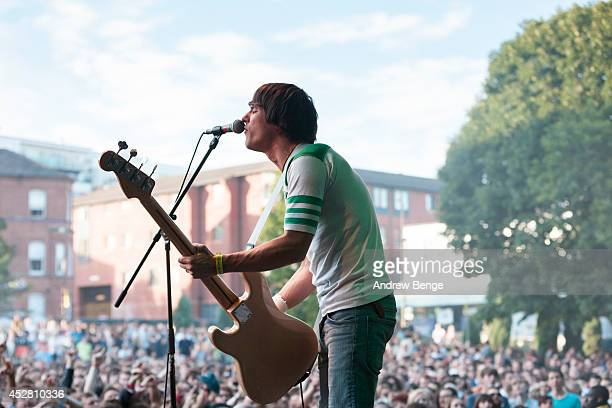 Gary Jarman of The Cribs performs on stage at Tramlines Festival at Devonshire Green on July 27 2014 in Sheffield United Kingdom