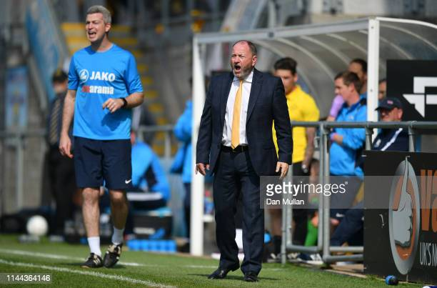 Gary Johnson, Manager of Torquay United issues instructions from the touchline during the Vanarama National League South match between Torquay United...