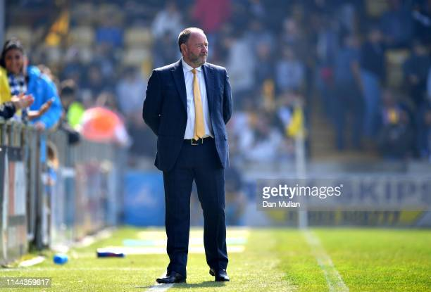 Gary Johnson, Manager of Torquay United looks on during the Vanarama National League South match between Torquay United and Hungerford Town at...