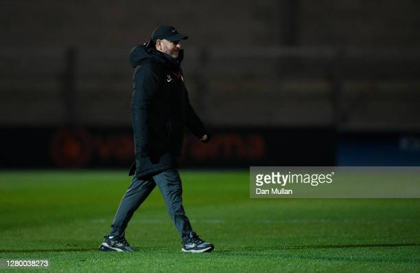 Gary Johnson, Manager of Torquay United looks on prior to the Vanarama National League match between Torquay United and Chesterfield at Plainmoor on...