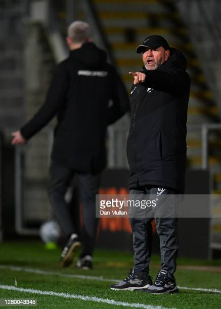 Gary Johnson, Manager of Torquay United reacts during the Vanarama National League match between Torquay United and Chesterfield at Plainmoor on...