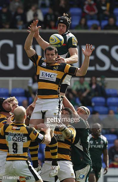 Gary Johnson of London Irish is out jumped by Dan WardSmith in the lineout during the Aviva Premiership match between London Irish and London Wasps...