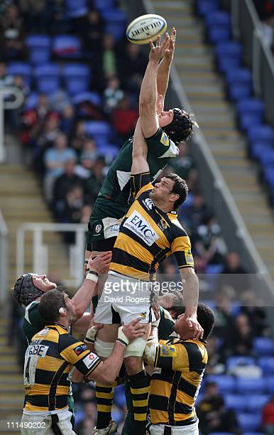 Gary Johnson of London Irish outjumps Dan WardSmith in the lineout during the Aviva Premiership match between London Irish and London Wasps at the...