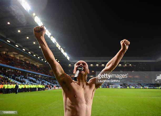 Gary Jones of Bradford City celebrates reaching the final at the end of the Capital One Cup SemiFinal Second Leg between Aston Villa and Bradford...