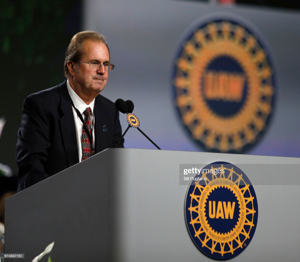 Gary Jones, the newly-elected President of the United Auto Workers (UAW), addresses the 37th UAW Constitutional Convention June14, 2018 at Cobo Center in Detroit, Michigan. Jones was formerly the Director of UAW Region 5. The outgoing President is Dennis Williams, who served one term and was elected in 2014.