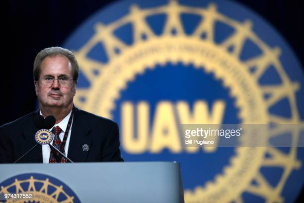 Gary Jones, the newly-elected President of the United Auto Workers , addresses the 37th UAW Constitutional Convention June14, 2018 at Cobo Center in...
