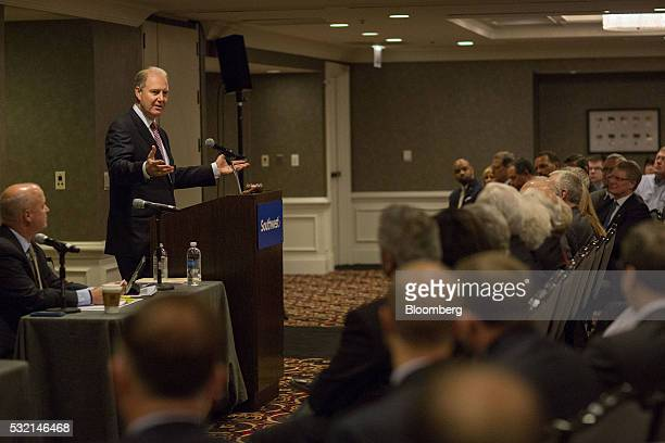 Gary Kelly chairman and chief executive officer of Southwest Airlines Co speaks during the company's annual shareholders meeting in Chicago Illinois...