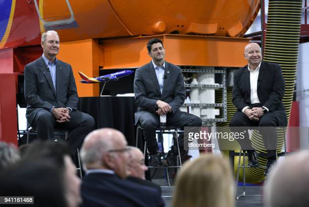 Gary Kelly chief executive officer of Southwest Airlines Co from left US House Speaker Paul Ryan a Republican from Wisconsin and Representative Kevin...