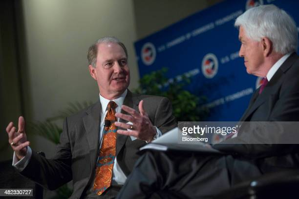 Gary Kelly president and chief executive officer of Southwest Airlines Co left speaks during a discussion with Thomas 'Tom' Donohue president and...