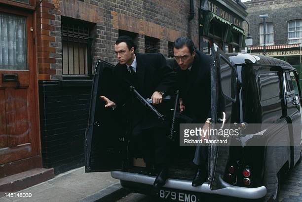 Gary Kemp and his brother Martin as British gangsters Reggie and Ronnie Kray in a scene from 'The Krays' directed by Peter Medak 1990