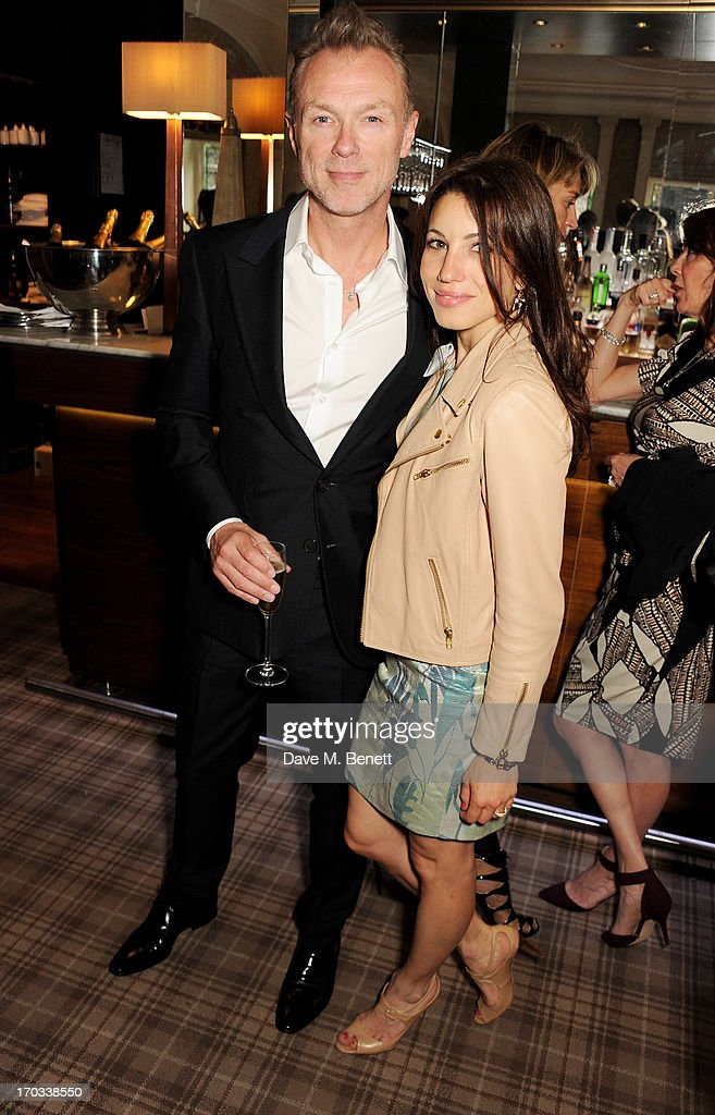 Gary Kemp (L) and Lauren Kemp attend a private dinner previewing the new 'Alex James Presents' Blue Monday cheese at The Cadogan Hotel on June 11, 2013 in London, England.