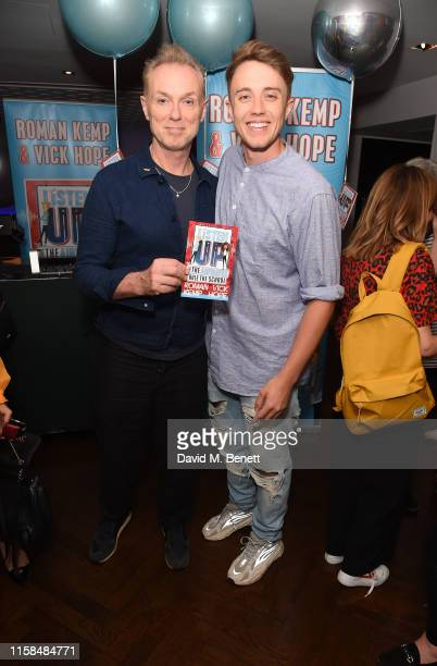 Gary Kemp and Roman Kemp attend a party to celebrate the upcoming release of Vick Hope and Roman Kemp's new children's book 'Listen Up' at The h Club...