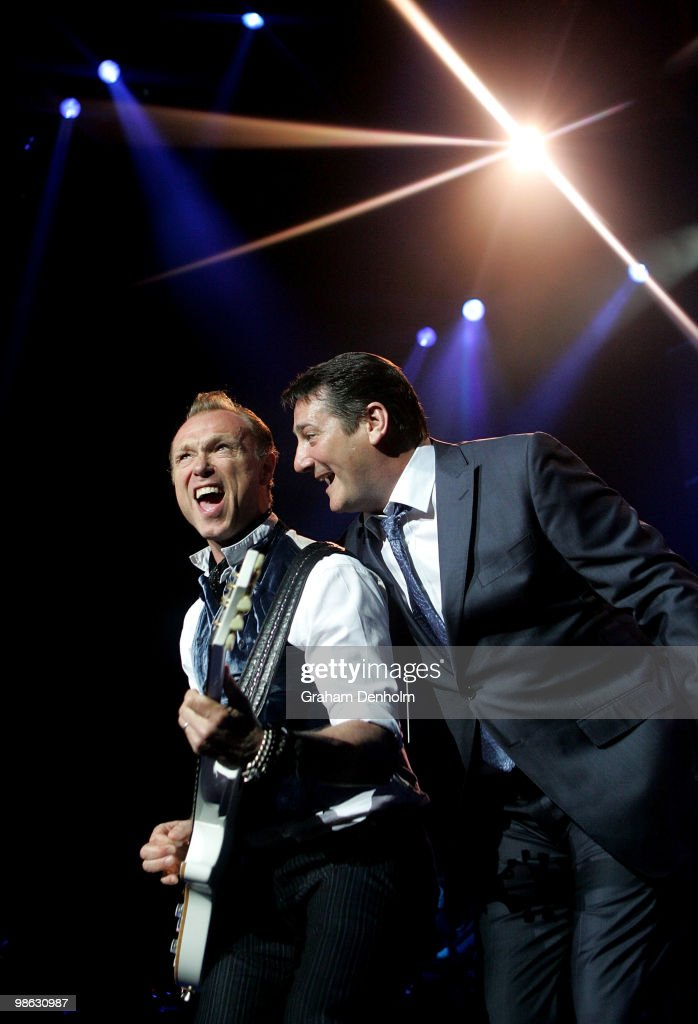 Gary Kemp (L) and Tony Hadley of Spandau Ballet perform on stage during their concert at the Sydney Entertainment Centre on April 23, 2010 in Sydney, Australia.