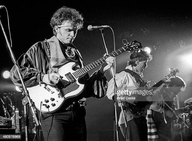 Gary Kemp performing with Spandau Ballet at the Sundown Theatre Charing Cross Road London 18th March 1981 He is playing a Guild S100 guitar