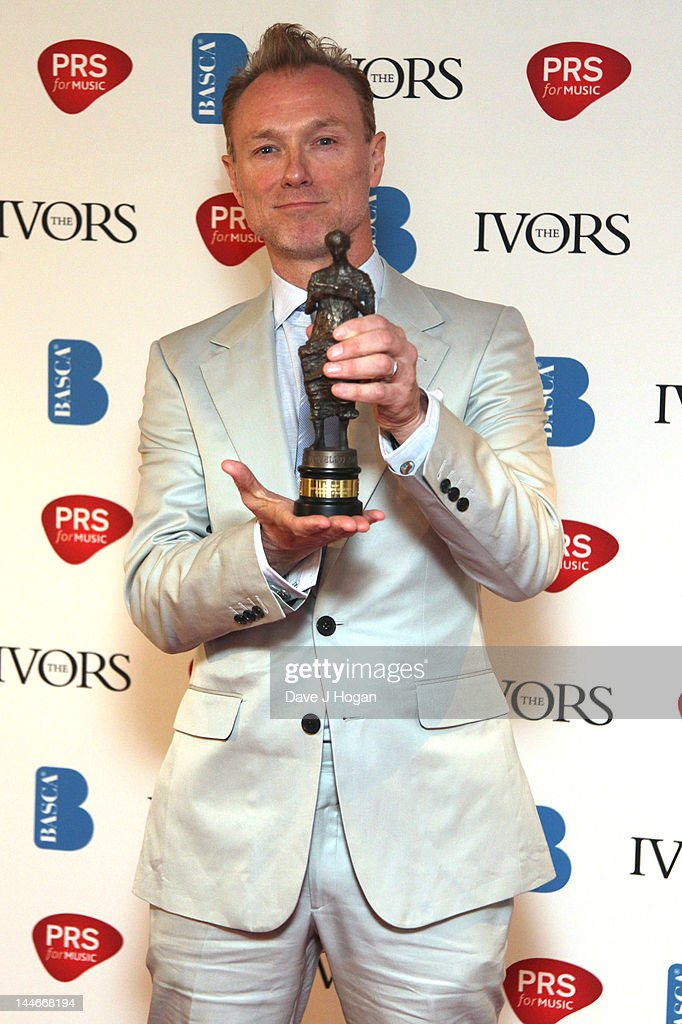 Gary Kemp poses with his Outstanding Song Collection Award in the press room at the Ivor Novello Awards 2012 at Grosvenor House on May 17, 2012 in London, England.