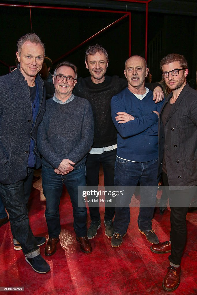 Gary Kemp, Ron Cook, John Simm, Keith Allen and Jamie Lloyd attend a photocall as the cast of 'The Homecoming' hands over to the cast of 'The Maids' at Trafalgar Studios on February 2, 2016 in London, England.