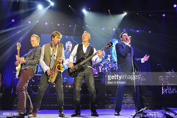 Gary Kemp Steve Norman Martin Kemp John Kebble and Tony Hadley of Spandau Ballet performs on stage at Sheffield Arena on March 6 2015 in Sheffield...