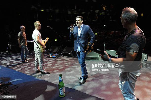 Gary Kemp Tony Hadley and Martin Kemp of Spandau Ballet during rehersal before Spandau Ballet perform live after the World Premiere of Soul Boys Of...