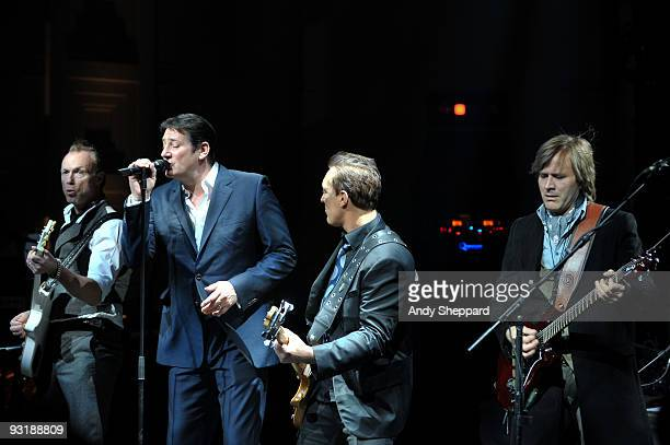 Gary Kemp Tony Hadley Martin Kemp and Steve Norman of Spandau Ballet perform live on stage at BBC Broadcasting House on November 17 2009 in London...